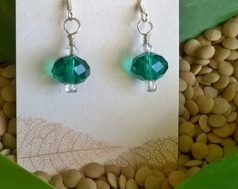 Sale - Green Glass Bead Earrings, Emerald Green, Fun Earrings, Statement Earrings, Boho, Summer Jewelry, Beach Jewelry, Lightweight Earrings