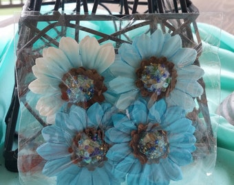 4 piece Michaels blue paper flowers