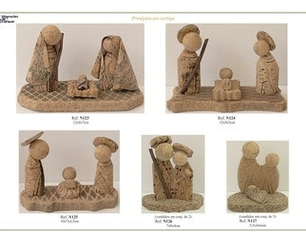 Handmade nativity scenes for christmas tree,portuguese natural cork