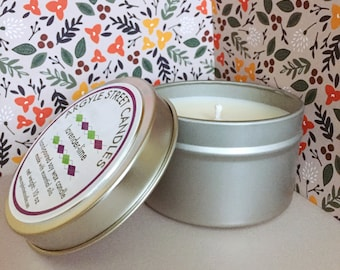 SALE Soy Candle Essential Oil Lavender-Lime Tin Container Candle Handmade