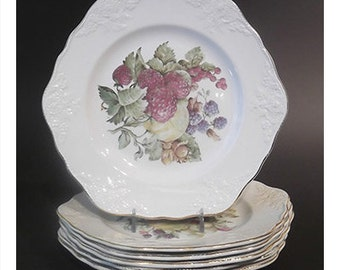 Six Embossed English Fruit Plates