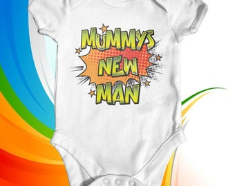 Mummy's New Man Baby Bodysuit | Slogan Baby Bodysuit | Baby Shower Gift | Cute Baby Clothes | Funny Baby Bodysuit | Newborn Baby Clothes