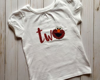 FREE SHIPPING / 2nd birthday shirt/ elmo / two / birthday girl / tshirt