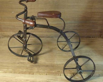 Vintage Model Tricycle Bicycle, Wood & Metal, Cottage Chic Decor, Rustic Industrial Home Decor, Vintage Mini Tricycle Decor, Folk Art Decor