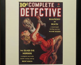 Mounted and framed Detective print, 12''x16'' framed, Complete Detective, Erotic Magazine Cover