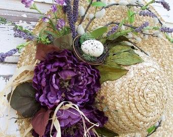 Straw Hat Wreath, Mother's Day Wreath, Purple Wreath, Romantic Wreath, Spring Wreath, Summer Wreath, Mother's Day Gift, Nest Wreath