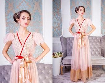 blush bridal robe Style 1602R wedding robe, bridal robe, bridal lingerie,lace robe,womens robe,robe lace,bridal boudoir,honeymoon lingerie