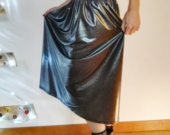 Rock Couture silver Lurex pencil-For Alternative Women, long skirt, skirt, skirt silver lurex, Silver metallic skirt