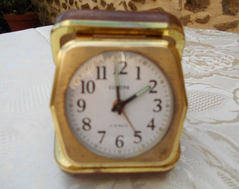 Vintage Europa 2 jewels Folding Travel Alarm Clock.