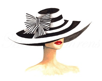 Striped Derby Hat Vintage Inspired Fashion Illustration Print, Giclee Print, Watercolor Art Print, 8X10 Decor
