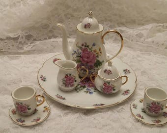 Miniature Tea Set, Pink Floral Pattern with brushed gold edges, 10 pc set, MT-74. No. 55