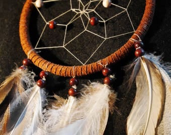 Leather & feather dreamcatcher