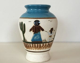 Tonala Mother and Child Vase Matte Finish with Glazed Accents and Striking Aqua Top.