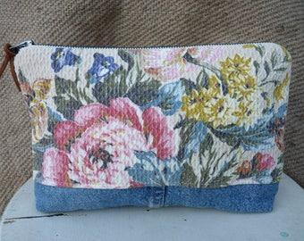 Vintage Bark Cloth Pouch