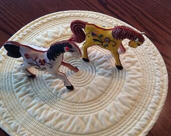 Vintage Hand Stitched Silk Horses
