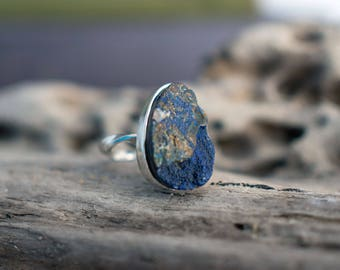 Dark blue ring, azurite ring, blue stone ring, UK size P ring, US size 7 3/4 ring, No 16 size ring