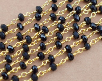 10 Feet Black Spinel Faceted Wire Wrapped Chain,Link Chain,Black Spinel Rosary Chain,Gemstone Rosary Style Beaded Chain,Free Shipping LRC44