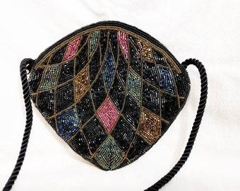 Ann Green Diamond Shaped Vintage Beaded Handbag