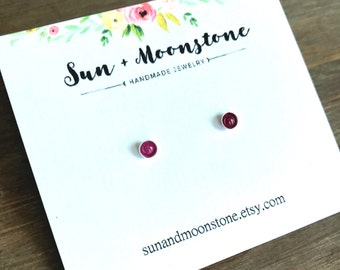 Tiny Ruby Stud Earrings // Sterling Silver 14k Gold FIll Studs Solid Gold // July Birthstone // 3mm 4mm // Leo