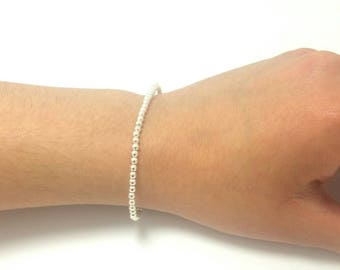 3mm Silver Ball Bead Stretch Bracelet tiny bead bracelet silver small bead bracelet layering bead bracelet minimal Sterling silver bracelet