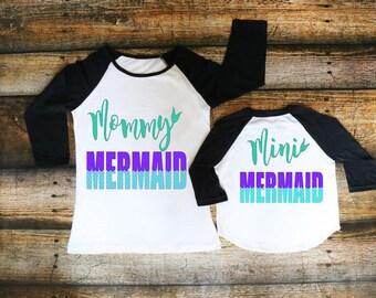 Mommy and Me Mermaid-Mermama-Mini Mermaid-DIY Iron On Decal-Vinyl Wall-Car Decal-Canvas-Mug-Nursery