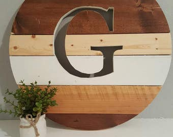 Rustic Round wood monogram sign