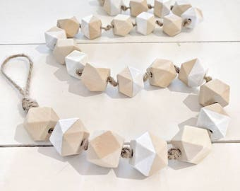 White & Raw Wood Geometric Bead Garland,Raw Wood Bead Garland, Garland ,Geometric Wood Bead Garland, Hexagon wood Bead Garland, Bead Garland