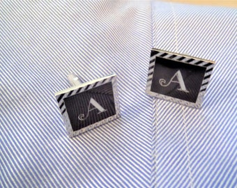 Initial A Cuff Links Monogram A  Cuff links by Swank Monogrammed Cuff Links A