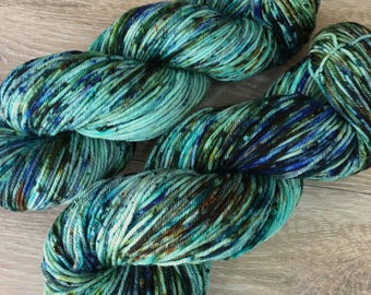Chrysocolla - DK or Worsted Hand Dyed Speckled Yarn, Superwash Merino Wool Nylon, 4-Ply, Assorted Bases, Green Blue Super Speckle