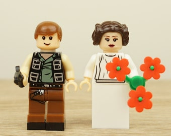 Star Wars wedding cake topper, Han Solo and Leia StarWars Cake Topper, Star Wars Cake Topper, Lego Wedding Cake Topper, Lego Cake Topper