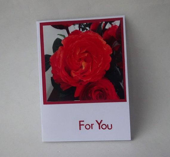 Love Card - Handmade Photo Card with Rose - #543