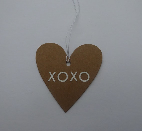 Luxury Handmade Gift Tags - Kraft Paper Tag with White XOXO - 2G
