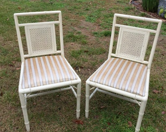 Two Vintage White Bamboo chairs