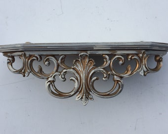 Vintage Syroco Shelf, Ornate hanging shelf, Shabby Chic finish,