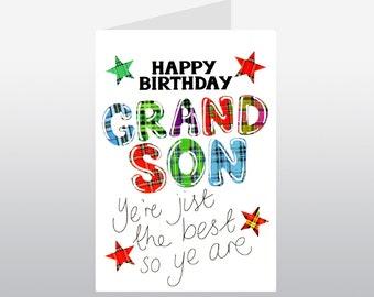 Tartan Words Card Grandson WWTW13