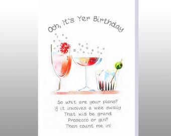 Birthday 'Prosecco or Gin' Card WWBI120