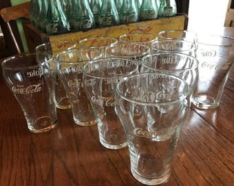 12 Libbey Glass Coca Cola 8oz. Glasses