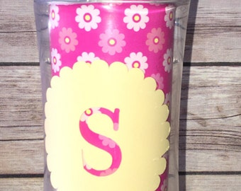 Pink & yellow monogrammed playtex straw cup, yellow monogrammed sippy cup, monogrammed playtex 12 ounce straw cup
