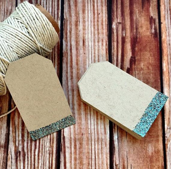 Blank paper tags, set of 25 custom glitter wedding labels, blank wedding place cards, embossed wedding favor gift tags, DIY wedding decor