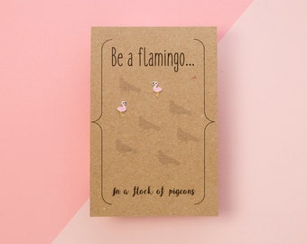 Silver Flamingo Earrings with Hand Designed Kraft Gift Card
