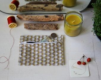 Golden wallet / Mini pouch geometrque / Mini Kit female /gris