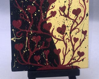 The Force of Love / light side, dark side, force, hearts, love / Small Art Painting with Desktop Easel, 4 x 4 inch