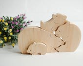 First puzzle Bears Family, Animal puzzle, Toddler wood puzzle, Waldorf toy, Wooden toy, Toddler toy, Montessori toy Mother's gift Home décor