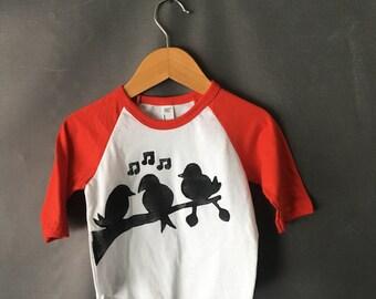ready to ship | three little birds baseball t-shirt 6-12 months RED SLEEVE