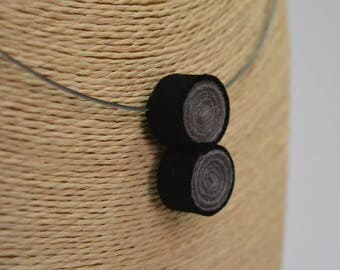Handmade felt silver plated necklace spiral gray black