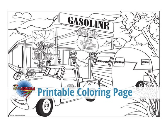 gas station coloring page - photo #24