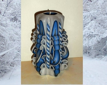 Christmas gift candle, Unique handmade gift candle, Hand Carved candles, Blue candle, 5 inch/ 12cm