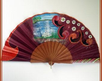 Landscape hand painted fan, spanish wood folding fan, hand fan for gift, landscape art, gift for her, unique hand fan, gift for wedding, fan