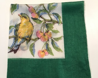 Vintage Bird Handkerchief, Green Border with Yellow Chickadees on Branches with Fruit, Bird Lovers Gift