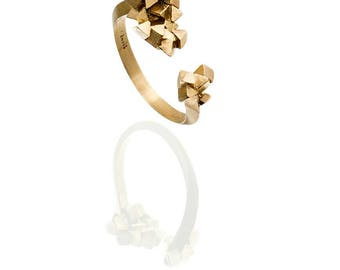 14k Gold Ring, Gold Cubes Ring, Geometric Ring, Triangle Ring, Gold Open Ring, Gold Faceted Ring, Alternative Ring, Gift For Her, Woman Ring